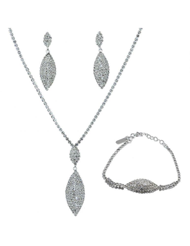 155a69bd895d Set de rhinestone de collar con aretes y pulsera ideal para tu look de  fiesta en color plata.
