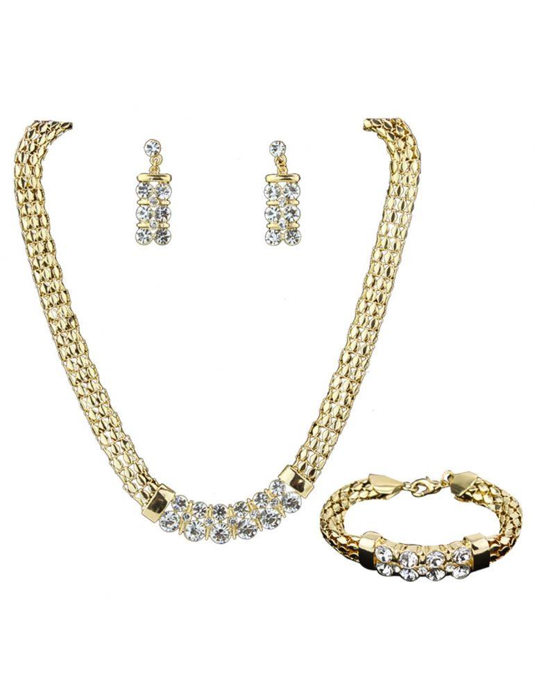3eb2b0005800 Set de collar metálico con pedrería de fiesta c  aretes y pulsera.